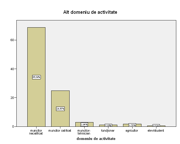 """Figura nr. 2: Repartizarea răspunsurilor din chestionarul de admitere în Centru la rubrica """"În ce alt domeniu profesional aţi activat""""."""
