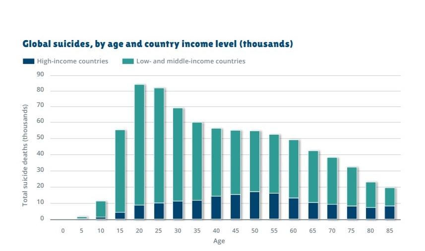 Fig. 1. Sinucideri la nivel global în funcție de vârstă și nivelul de venit al țării Sursa: Depression and Other Common Mental Disorders.Global Health Estimates, OMS, 2017 (OMS, 2017 )